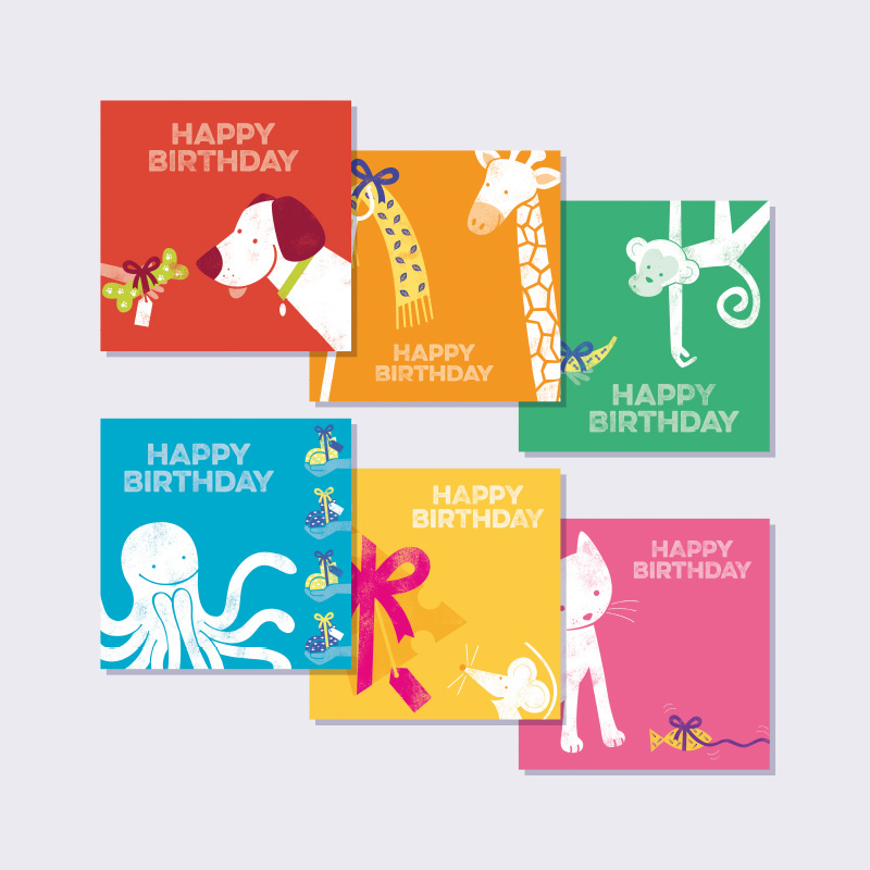"""Cute Animals"" Birthday Card Pack of 6"