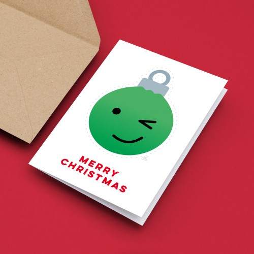 Emoji Baubles Christmas Cards Pack of 10