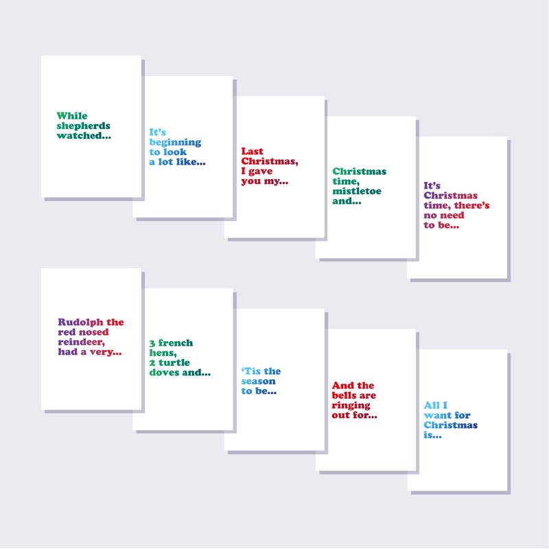 Lyrics Christmas Card; Pack of 10 Cards
