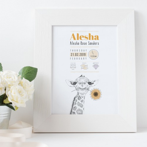 Personalised New Baby Birth A4 Print