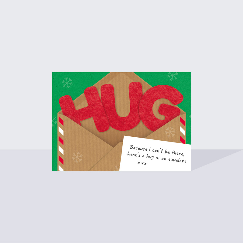 Hug in an Envelope Christmas Card A6
