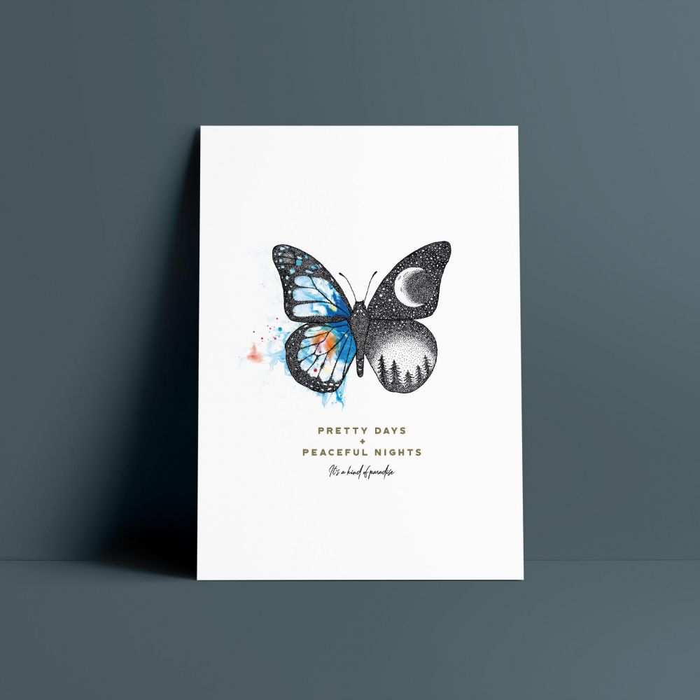A3 illustrated butterfly print